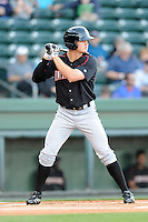 Outfielder Adam Engel (23) of the Kannapolis Intimidators bats in a game against the  Greenville Drive on Thursday, April 10, 2014, at Fluor Field at the West End in Greenville, South Carolina. Engel is the No. 22 prospect of the Chicago White Sox, according to Baseball America.  Greenville won, 7-6. (Tom Priddy/Four Seam Images)