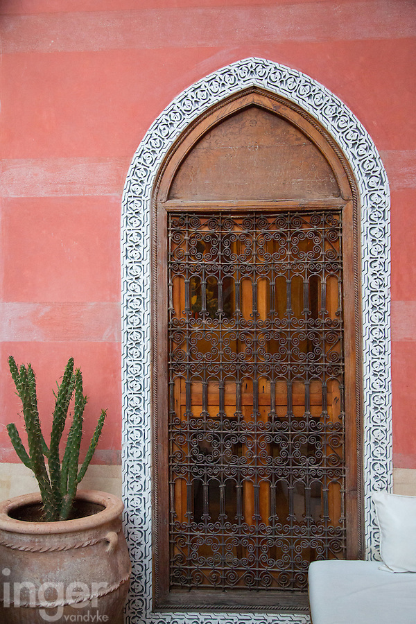 Timber doorway inside Riad Alili, Marrakech, Morocco