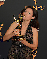 LOS ANGELES - SEP 18:  Julia Louis-Dreyfus at the 2016 Primetime Emmy Awards - Press Room at the Microsoft Theater on September 18, 2016 in Los Angeles, CA