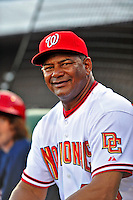 18 March 2009: Washington Nationals' coach Jose Martinez sits outside the dugout prior to a televised Spring Training game against the Florida Marlins at Space Coast Stadium in Viera, Florida. The Marlins defeated the Nationals 7-5 in the Grapefruit League matchup. Mandatory Photo Credit: Ed Wolfstein Photo