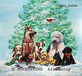 GIORDANO, CHRISTMAS ANIMALS, WEIHNACHTEN TIERE, NAVIDAD ANIMALES, paintings+++++,USGI2528M,#XA# dogs,puppies