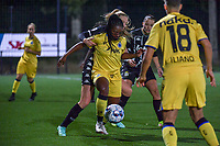 Renate Ly Mehevets (15) of Sporting du Pays de Charleroi and Esther Buabadi (24) of Club Brugge pictured during a female soccer game between Sporting Charleroi and Club Brugge YLA on the sixth matchday in the 2021 - 2022 season of Belgian Scooore Womens Super League , friday 8 October 2021 in Marcinelle , Belgium . PHOTO SPORTPIX   STIJN AUDOOREN