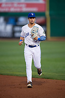 Bluefield Blue Jays center fielder Dominic Abbadessa (2) jogs back to the dugout during the second game of a doubleheader against the Bristol Pirates on July 25, 2018 at Bowen Field in Bluefield, Virginia.  Bristol defeated Bluefield 5-2.  (Mike Janes/Four Seam Images)