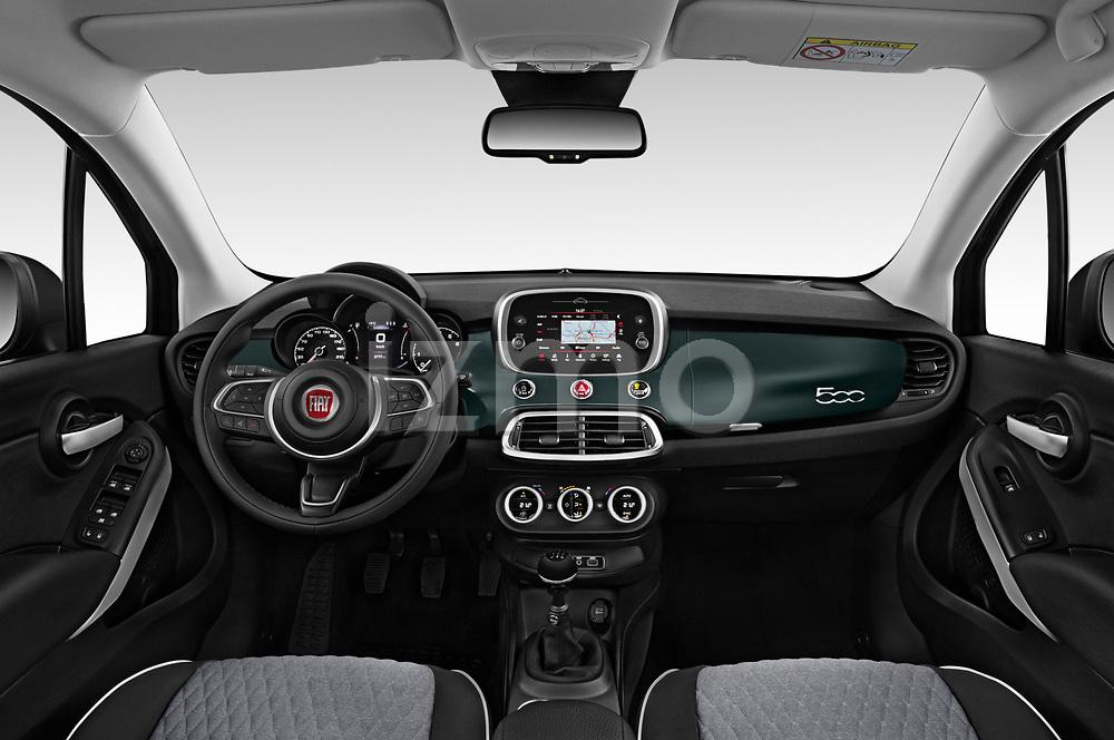Stock photo of straight dashboard view of 2019 Fiat 500X City-Cross 5 Door SUV Dashboard