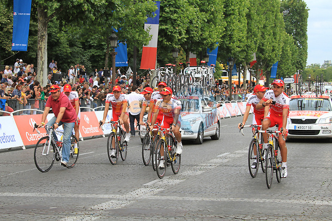 Cofidis part of the team parade at the end of the final Stage 20 of the 2010 Tour de France running 102.5km from Longjumeau to Paris Champs-Elysees, France. 25th July 2010.<br /> (Photo by Eoin Clarke/NEWSFILE).<br /> All photos usage must carry mandatory copyright credit (© NEWSFILE | Eoin Clarke)