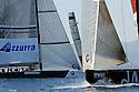 Louis Vuitton Trophy La Maddalena 22 maggio 2010. E' il primo giorno di regate. Le barche affidate alle diverse squadre si incrociano in attesa dell'avvio delle regate