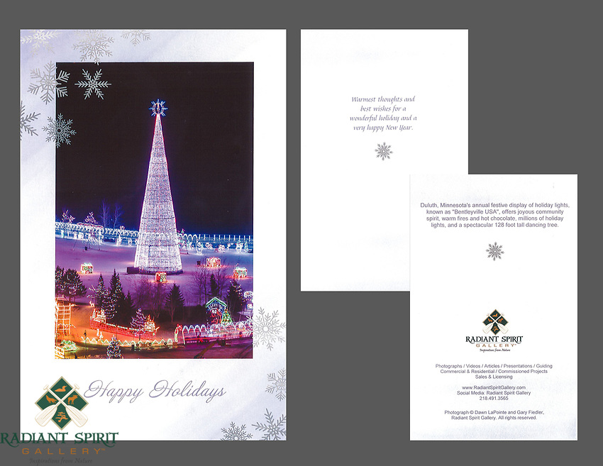 """""""Bentleyville Lighted Tree"""" holiday cards, cards/envelopes, greeting inside, approx. 5""""x7"""" folded; individual or pack of 10"""