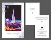 """Bentleyville Lighted Tree"" holiday cards, cards/envelopes, greeting inside, approx. 5""x7"" folded; individual or pack of 10"