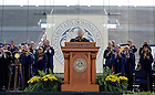 May 22, 2011; U.S. Secretary of Defense Robert Gates receives a standing ovation as he prepares to give the 2011 Commencement Address at the 2011 Notre Dame Commencement ceremony in Notre Dame Stadium...Photo by Joe Raymond/University of Notre Dame