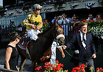 09 July 04: Ramon Dominguez rides Cat Moves (no. 1) to victory in the 62nd running of the grade 1 Prioress Stakes for three year old fillies at Belmont Park in Elmont, New York.