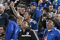BOGOTA - COLOMBIA, 31-01-2018: Hinchas de Millonarios animan a su equipo durante el encuentro entre Millonarios y Atlético Nacional por la final ida de la SuperLiga Aguila 2018 jugado en el estadio Nemesio Camacho El Campin de la ciudad de Bogotá. / Fans of Millonarios cheer for their team during the first leg match between Millonarios and Atletico Nacional for the final of the SuperLiga Aguila 2018 played at the Nemesio Camacho El Campin Stadium in Bogota city. Photo: VizzorImage / Gabriel Aponte / Staff.