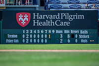 23 June 2019: The New Hampshire Fisher Cats have a traditional scoreboard in left field seen here during a game against the Trenton Thunder at Northeast Delta Dental Stadium in Manchester, NH. The Thunder defeated the Fisher Cats 5-2 in Eastern League play. Mandatory Credit: Ed Wolfstein Photo *** RAW (NEF) Image File Available ***