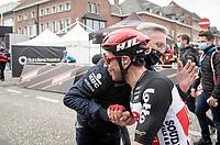 Caleb Ewan (AUS/Lotto-Soudal) wins the 108th Scheldeprijs 2020 (1.Pro) & is congratulated after the finish by fellow Aussi and race director race director Scott Sunderland<br /> <br /> 1 day race from Schoten to Schoten BEL (173km)<br /> <br /> ©kramon