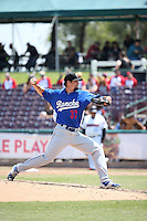 Kyle Hooper (37) of the Rancho Cucamonga Quakes pitches against the Inland Empire 66ers at San Manuel Stadium on April 27, 2016 in San Bernardino, California. Rancho Cucamonga defeated Inland Empire, 2-1. (Larry Goren/Four Seam Images)