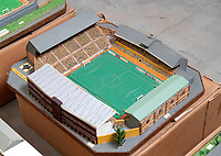 BNPS.co.uk (01202 558833)<br /> Pic: Zachary Culpin/BNPS<br /> <br /> Pictured: Wolves FC's old ground<br /> <br /> An incredible collection of model football stadiums handmade by a soccer fan have sold for almost £19,000 after being found in a storage unit.<br /> <br /> Model-maker John Le Maitre created miniature versions of all 92 English Football League club grounds from the 1980s, as well as the old Wembley Stadium.<br /> <br /> They featured on a Blue Peter episode that year and are a throwback to a bygone age when football grounds with their banks of terraces looked very different to today's super stadiums.