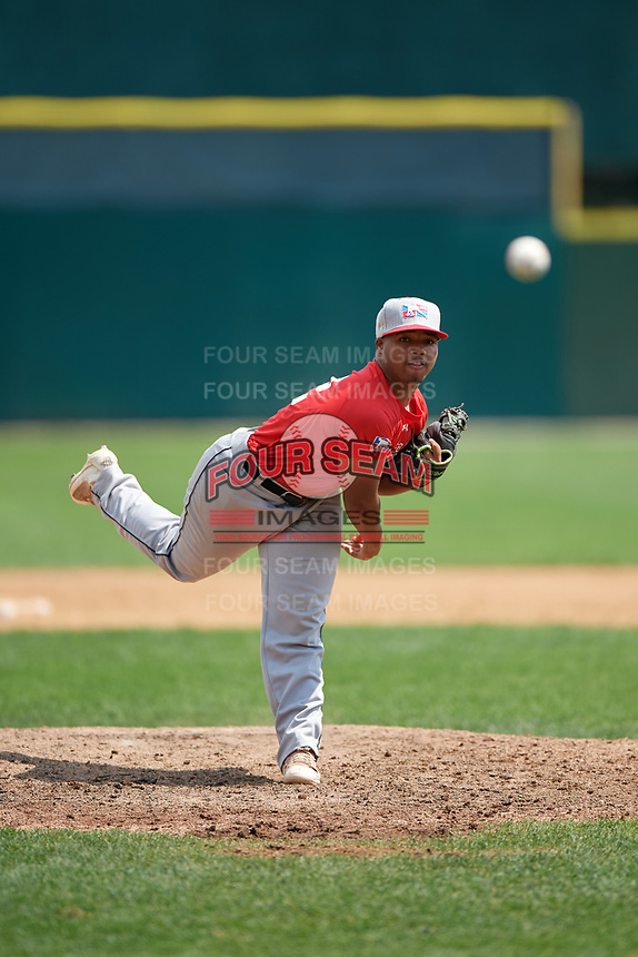 Pitcher Henry Perry III (12) during the Dominican Prospect League Elite Underclass International Series, powered by Baseball Factory, on August 1, 2017 at Silver Cross Field in Joliet, Illinois.  (Mike Janes/Four Seam Images)