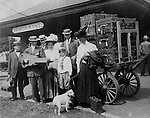 North East PA: View of the Stewart family arriving at the North East  train station for their Lake Erie vacation.  During the early 1900s, the Stewart family vacationed on Lake Erie near North East Pennsylvania. Since hotels and motels were non-existent, camping was the only viable option for a large number of vacationers