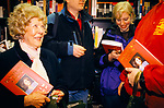 Monica Lewinsky UK 1999 promotional tour for her book Monicas Story. Fans with copies of her book, book signing Harrods London 1990s