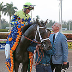 HALLANDALE BEACH, FL - APRIL 01:  John Velazquez with Always Dreaming with Todd Fletcher before heading into the winners circle after winning the Grade I Xpressbet Florida Derby. Scenes from  Florida Derby Day at Gulfstream Park on April 01, 2017 in Hallandale Beach, Florida. (Photo by Liz Lamont/Eclipse Sportswire/Getty Images)