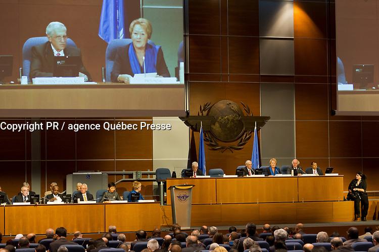 Montréal, le mardi 24 septembre 2013, participation de la PM Mme Pauline Marois à la séance inaugurale de la 38e Session de l'Assemblée de l'Organisation de l'aviation civile internationale (OACI) // Montreal, Tuesday, September 24, 2013, participation of PM Ms. Pauline Marois at the Inaugural Session of the 38th Session of the Assembly of the International Civil Aviation Organization (ICAO)<br /> PHOTO :  Agence Quebec presse