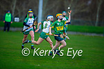Kerry's Kate Lynch about to take possession as Megan Tynne of Meath tackles her, in the Camogie Intermediate Championship