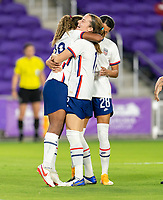 ORLANDO, FL - JANUARY 22: Catarina Macario #29 of the USWNT celebrates her first goal with Tierna Davidson #12 during a game between Colombia and USWNT at Exploria stadium on January 22, 2021 in Orlando, Florida.