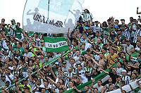 MEDELLÍN -COLOMBIA - 05-03-2016: Hinchas del Nacional animan a su equipo durante el encuentro entre Atlético Nacional y Boyacá Chicó FC por la fecha 8 de la Liga Águila I 2016 jugado en el estadio Atanasio Girardot de la ciudad de Medellín./ Fans of Nacional cheer for their team during a match between Atletico Nacional and Boyaca Chico FC for the date 8 of the Aguila League I 2016 at Atanasio Girardot stadium in Medellin city. Photo: VizzorImage/León Monsalve/STR