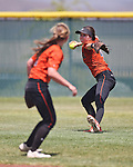 Douglas Tigers' Madi Parks makes a play against the Galena Grizzlies in a first round game of the NIAA northern region softball tournament in Reno, Nev., on Thursday, May 15, 2014. Galena won 5-4.<br /> Photo by Cathleen Allison