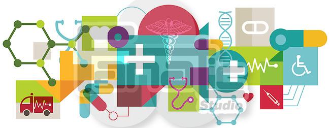Illustrative image of collage representing health, insurance