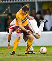 :: MOTHERWELL'S STEVEN JENNINGS GTES THE BALL OFF HAMILTON'S MARK MCLAUGHLIN ::