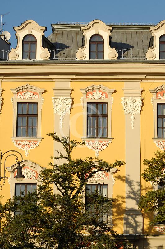 Poland, Krakow, Old houses, Rynek Glowny, Grand Square