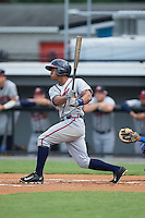 Ray-Patrick Didder (1) of the Danville Braves follows through on his swing against the Burlington Royals at Burlington Athletic Park on July 12, 2015 in Burlington, North Carolina.  The Royals defeated the Braves 9-3. (Brian Westerholt/Four Seam Images)