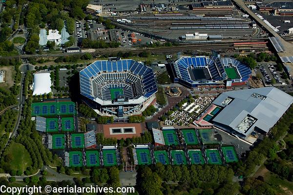 aerial photograph of the USTA Billie Jean King National Tennis Center, the Arthur Ashe Stadium, Flushing Meadows, Corona Park, Queens, New York