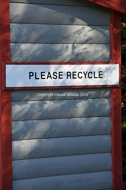 Recycling station at a campground, Trenton, Maine, USA