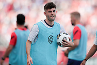 SANDY, UT - JUNE 10: Christian Pulisic #10 of the United States warming up during a game between Costa Rica and USMNT at Rio Tinto Stadium on June 10, 2021 in Sandy, Utah.