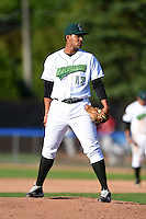 Jamestown Jammers pitcher Luis Urena (17) looks in for the sign during a game against the Mahoning Valley Scrappers on June 15, 2014 at Russell Diethrick Park in Jamestown, New York.  Jamestown defeated Mahoning Valley 9-4.  (Mike Janes/Four Seam Images)