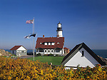 View of Portland Head Lighthouse in the Fall, Cape Elizabeth, Maine, USA