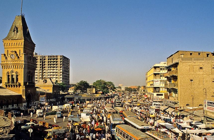 Pakistan. Karachi. Empress Market and bus station.