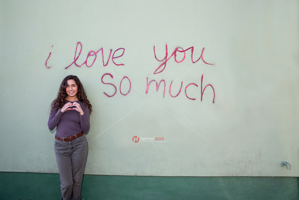 """The """"i love you so much"""" mural is a Austin favorite and international tourist attraction and Austin's most famous landmark mural - Stock Image."""
