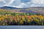 Fall foliage on Pearl Lake in Lisbon, NH, USA