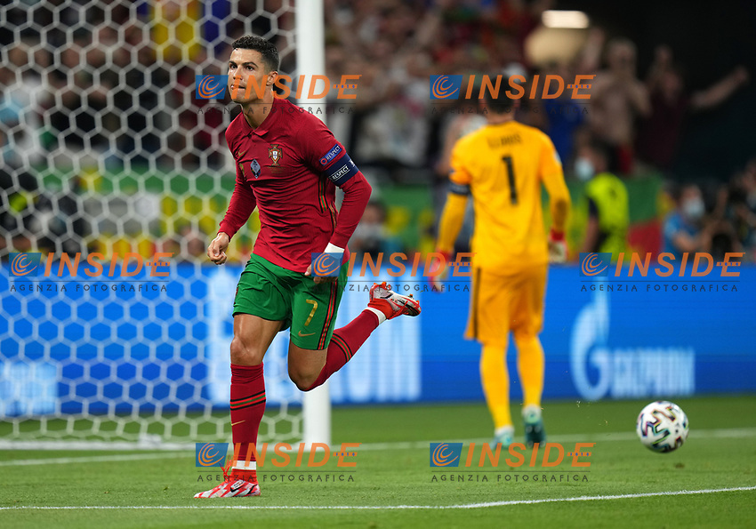 BUDAPEST, HUNGARY - JUNE 23: Cristiano Ronaldo of Portugal celebrates after scoring their side's first goal during the UEFA Euro 2020 Championship Group F match between Portugal and France at Puskas Arena on June 23, 2021 in Budapest, Hungary. (Photo by Angel Martinez - UEFA/UEFA via Getty Images)<br /> Photo Uefa/Insidefoto ITA ONLY