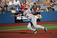 Tyler Ratliff (14) of the Spokane Indians in the field during a game against the Hillsboro Hops at Ron Tonkin Field on July 22, 2017 in Hillsboro, Oregon. Spokane defeated Hillsboro, 11-4. (Larry Goren/Four Seam Images)