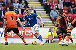 St Johnstone v Dundee United…22.08.21  McDiarmid Park    SPFL<br />Callum Hendry gets between Charlie Mulgrew and Jeando Fuchs<br />Picture by Graeme Hart.<br />Copyright Perthshire Picture Agency<br />Tel: 01738 623350  Mobile: 07990 594431