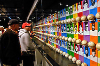 21 May 2007:  Baseball fans look at no-hitter baseballs and the pitchers who threw the historic games in the exhibit areas of the Baseball Hall of Fame Museum in Cooperstown, NY...Mandatory Credit: Ed Wolfstein Photo