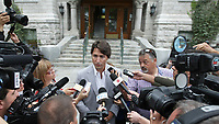 Liberal Party of Canada leader Justin Trudeau answers questions from the media in Quebec City, Thursday August 22, 2013. Trudeau recently said he used marijuana, including when he was an MP.<br /> <br /> PHOTO :  Francis Vachon - Agence Quebec Presse