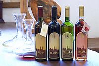 Bottle of Medugorska Floria 1998 dessert sweet wine, Ruza rose wine, Zilavka white wine 1999, Blatina red wine 1995. Podrum Vinoteka Sivric winery, Citluk, near Mostar. Federation Bosne i Hercegovine. Bosnia Herzegovina, Europe.
