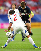 USA's Bobby Convey (15) is blocked by Zdanek Grygera (2) of the Czech Republic.  The Czech Republic defeated the USA 3-0 in their FIFA World Cup Group E match at FIFA World Cup Stadium, Gelsenkirchen, Germany, June 12, 2006.