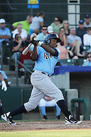 Wilmington Blue Rocks infielder Daniel Mateo #16 at bat during the first game of a doubleheader against the Myrtle Beach Pelicans at Ticketreturn.com Field at Pelicans Ballpark on May 25, 2013 in Myrtle Beach, South Carolina. Wilmington defeated Myrtle Beach 8-3. (Robert Gurganus/Four Seam Images)