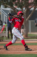 Cincinnati Reds designated hitter Michael Beltre (34) during a Minor League Spring Training game against the Los Angeles Angels at the Cincinnati Reds Training Complex on March 15, 2018 in Goodyear, Arizona. (Zachary Lucy/Four Seam Images)