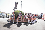 UAE Team Emirates riders relax before the start of Stage 2 of La Vuelta d'Espana 2021, running 166.7km from Caleruega. VIII Centenario de Santo Domingo de Guzmán to Burgos. Gamonal, Spain. 15th August 2021.    <br /> Picture: Unipublic/Charly Lopez   Cyclefile<br /> <br /> All photos usage must carry mandatory copyright credit (© Cyclefile   Unipublic/Charly Lopez)